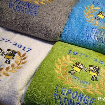 serviette éponge brodée